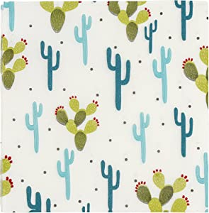 Blue Panda Cactus Paper Napkins for Party or Baby Shower (6.5 x 6.5 in, White 150 Pack)