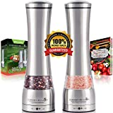 Premium Stainless Steel Salt and Pepper Grinder Set - Pepper Mill and Salt Mill, Spice Grinder with Adjustable Coarseness, Ceramic Rotor, Tall Salt and Pepper Shaker, Brushed Stainless - Free eBook