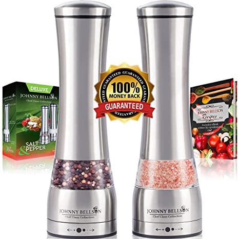 Amazon premium stainless steel salt and pepper grinder set premium stainless steel salt and pepper grinder set pepper mill and salt mill spice fandeluxe Image collections