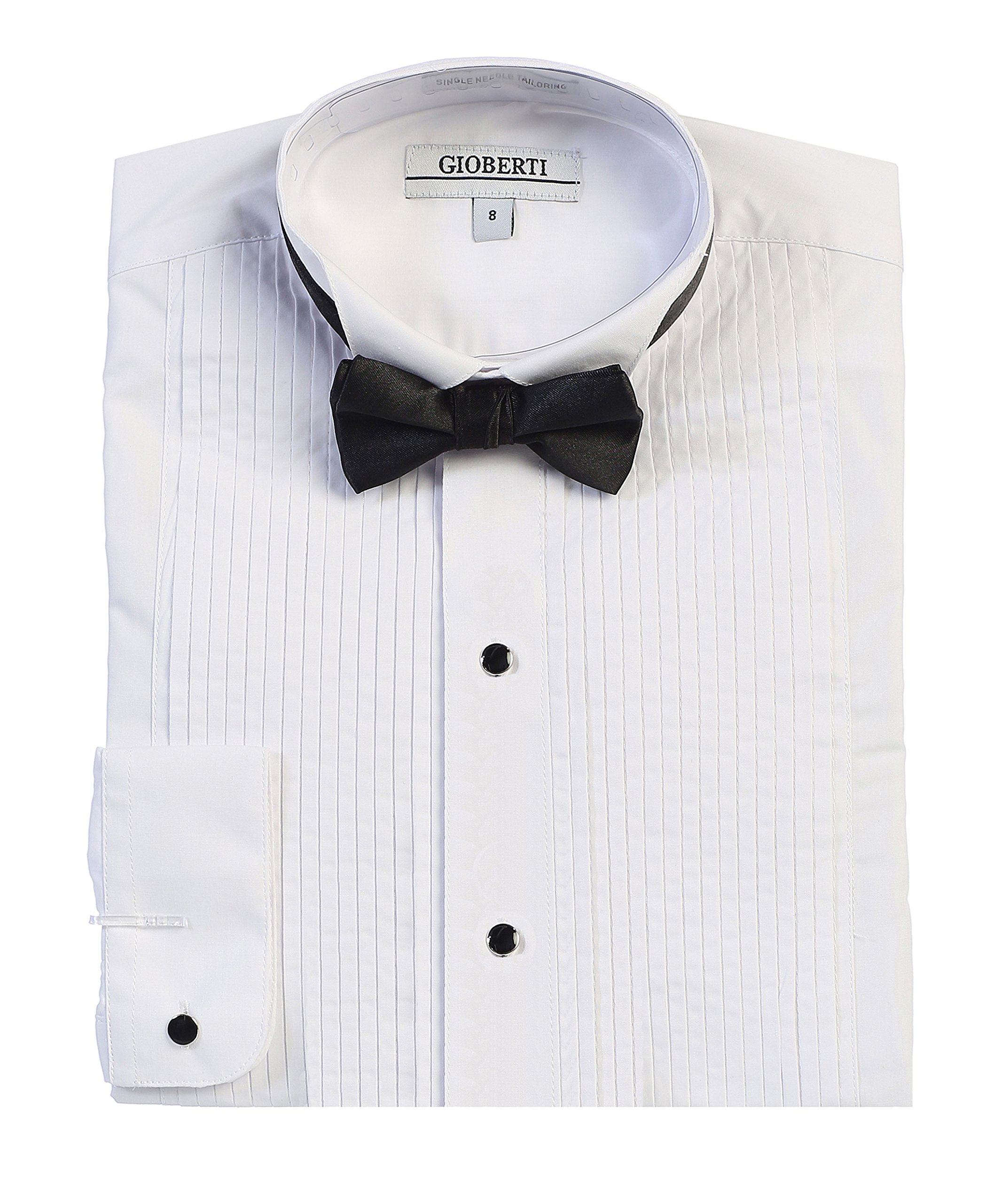 Gioberti Boy's Wing Tip Collar Tuxedo Dress Shirt with Bow Tie, White, Size 16