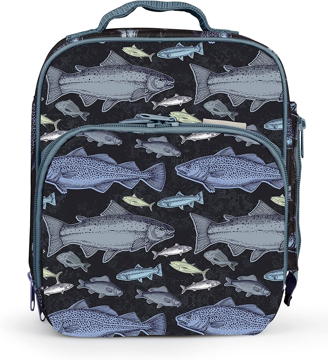 Bentology Lunch Box for Kids - Girls and Boys Insulated Lunchbox Bag Tote - Fits Bento Boxes - Fish