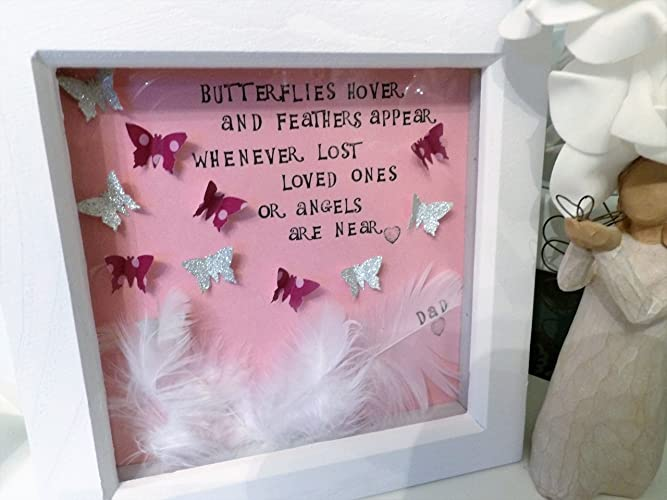 Amazon.com: A White Feather & Butterfly Angel Gift for Box Frame ...