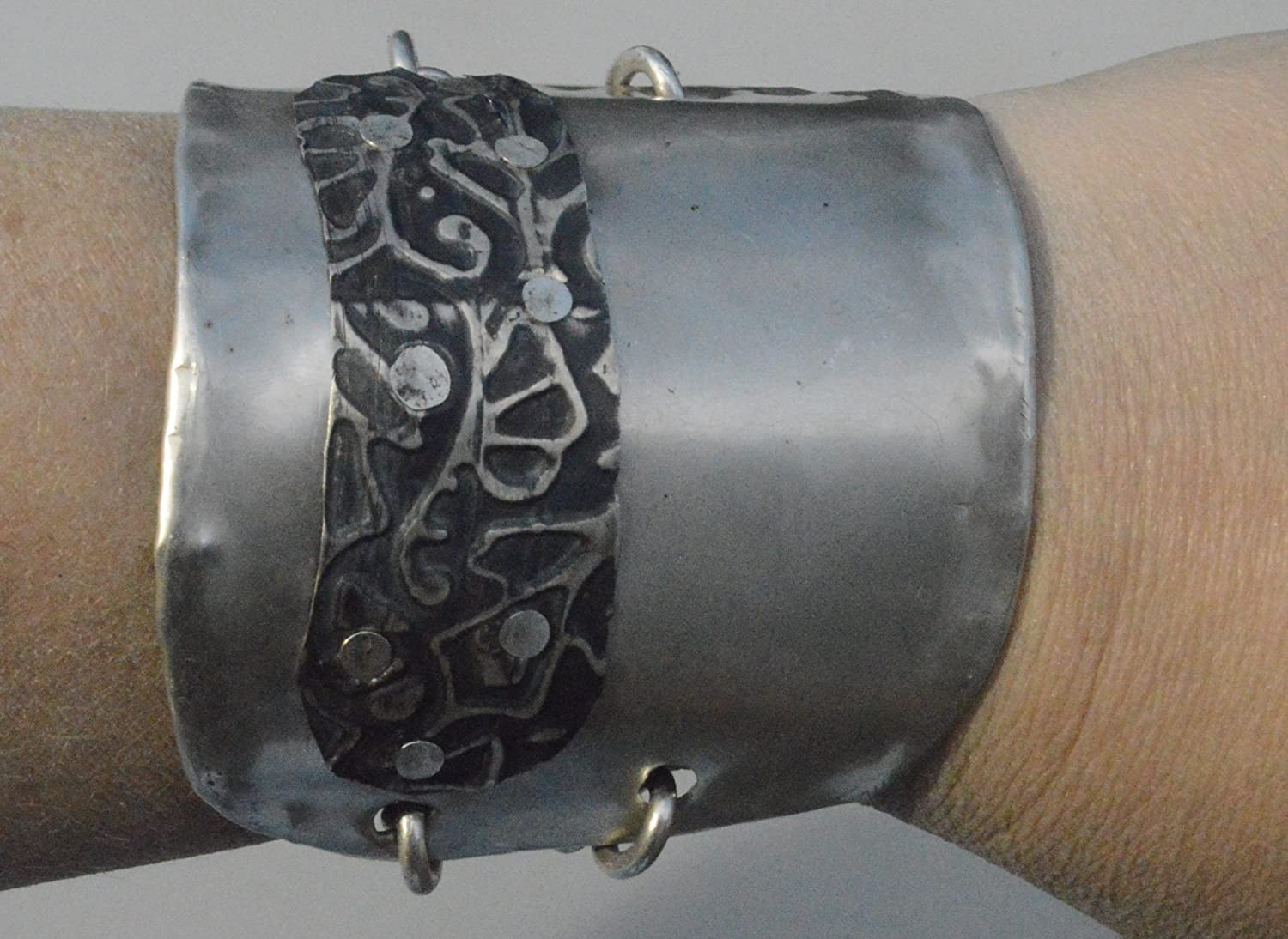 Deluxe Adult Costumes - Men's hand forged repurposed sterling silver embossed baroque wide pirate cuff bracelet.