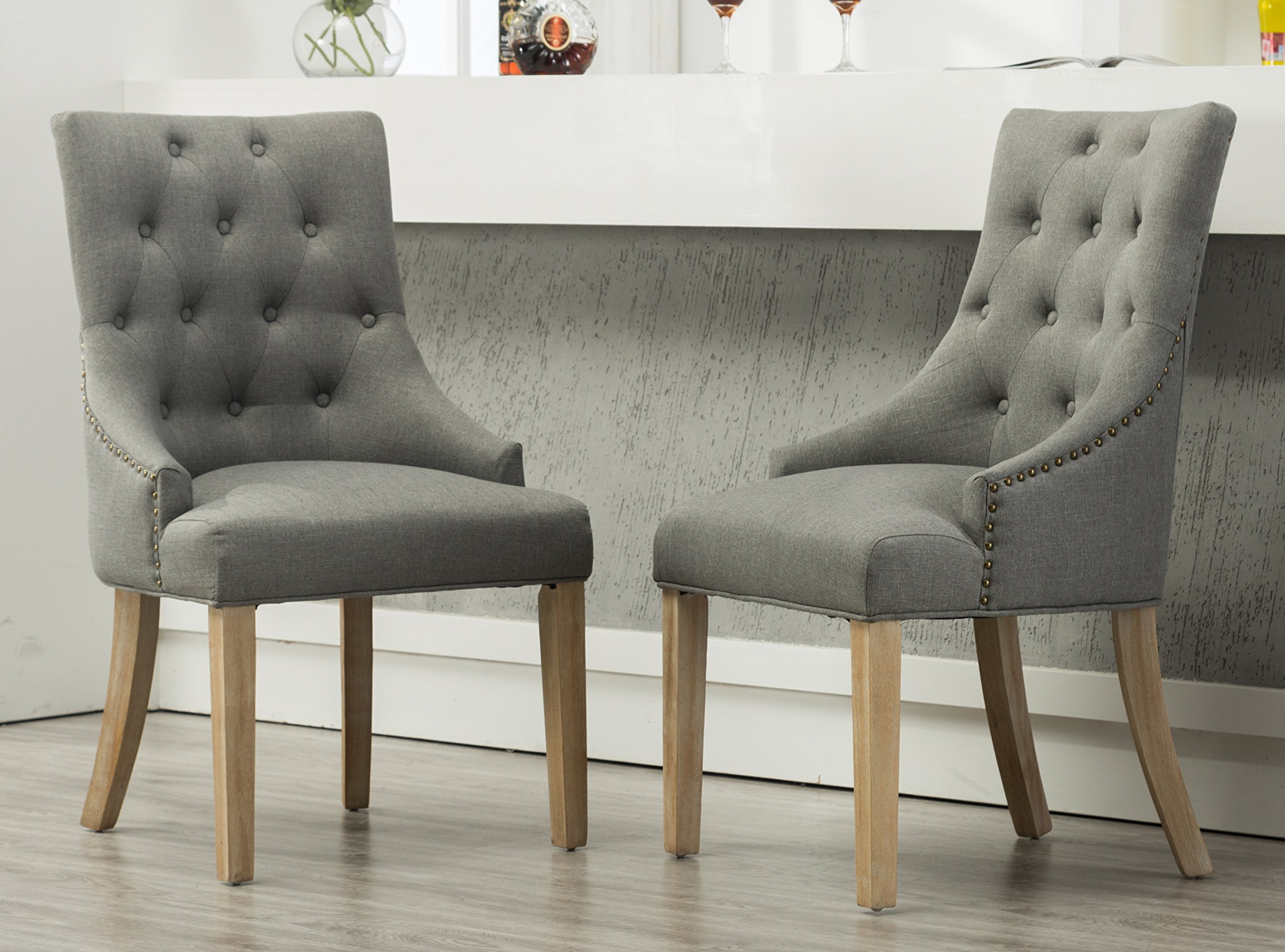 Roundhill Furniture C169GY Button Tufted Solid Wood Wingback Hostess Chairs with Nail Heads, Set of 2, Grey by Roundhill Furniture