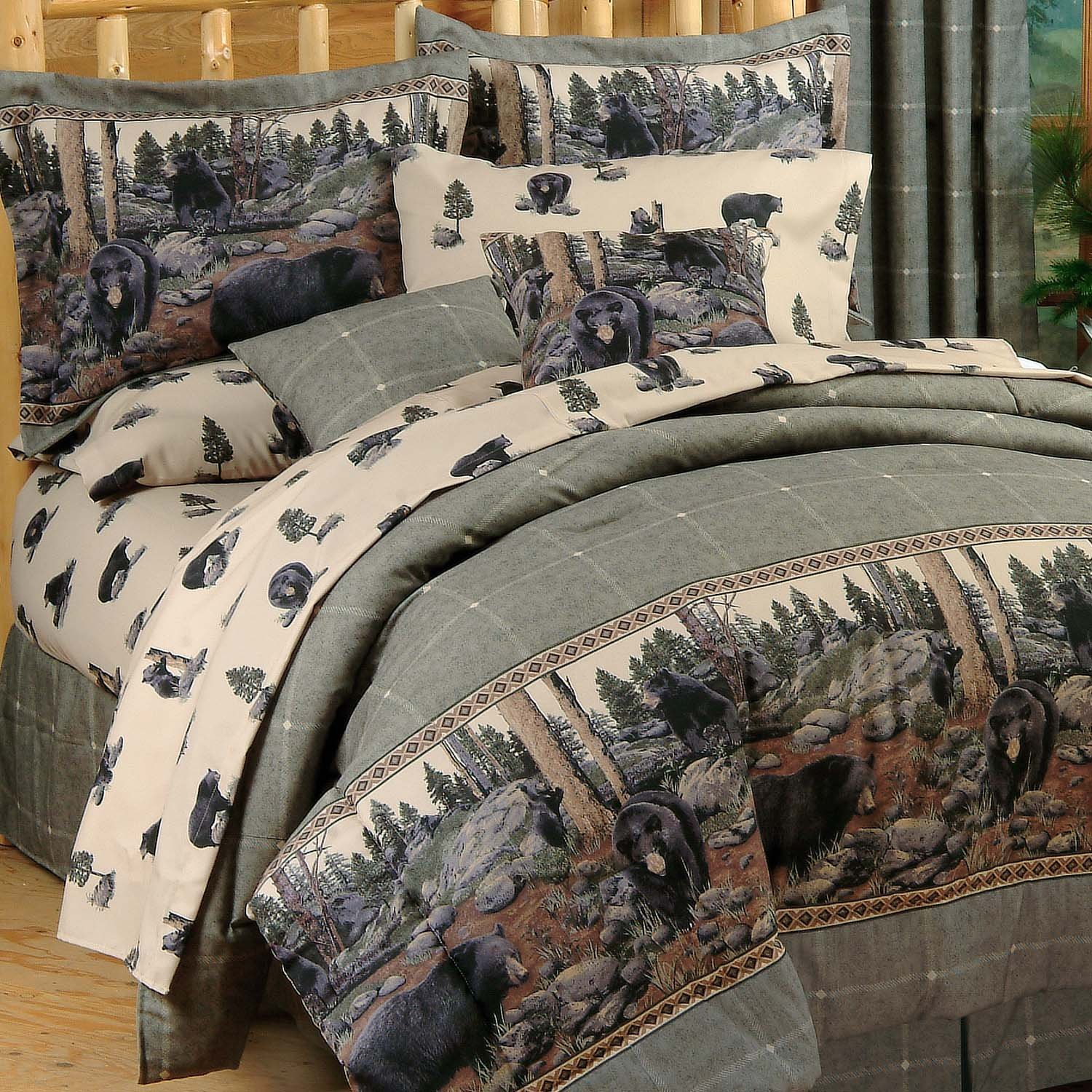 Blue Ridge Trading Unisex Bears Queen Comforter Set Black