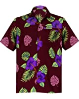 La Leela Men's Regular Fit Camp Palm Tree Short Sleeves Button Down Hawaiian Shirts Aloha