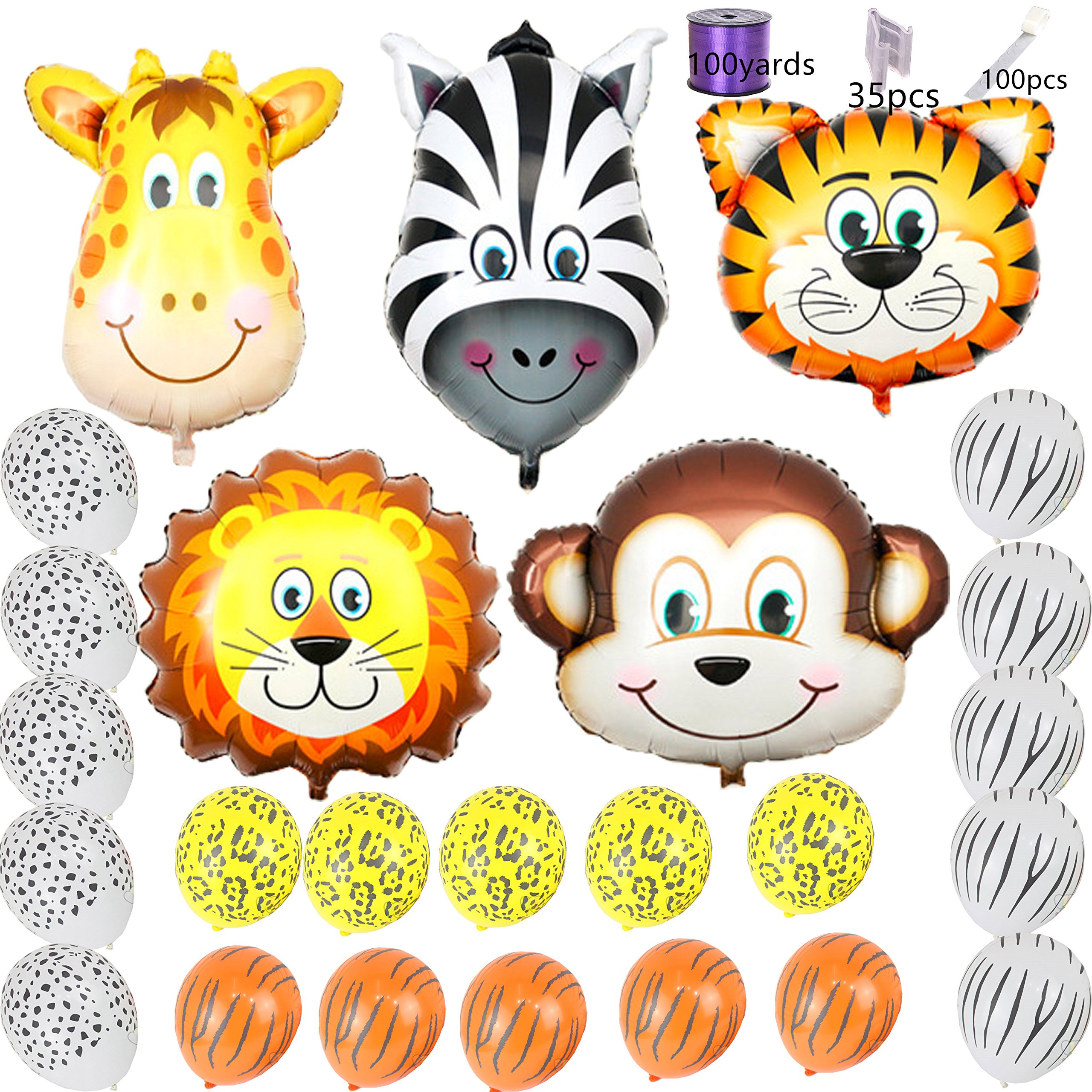 Safari Jungle Zoo Huge Animal head Balloon Jumbo Balloons Zebra, Tiger, Lions, Giraffe & Monkey with 20pcs 11'' latex Safari Print Party Supply foci cozi by foci cozi (Image #1)