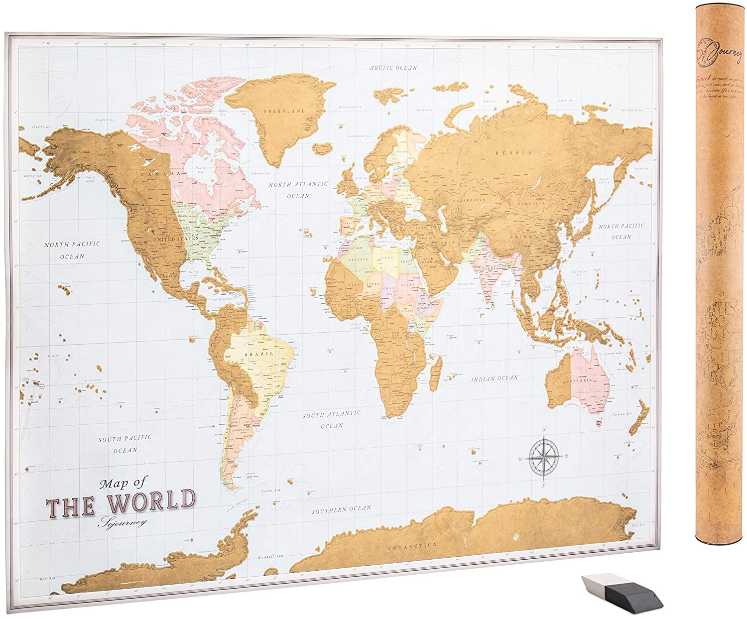 Amazoncom Scratch Off Map Of The World World Scratch Off Map - Map-of-the-world-with-us-states