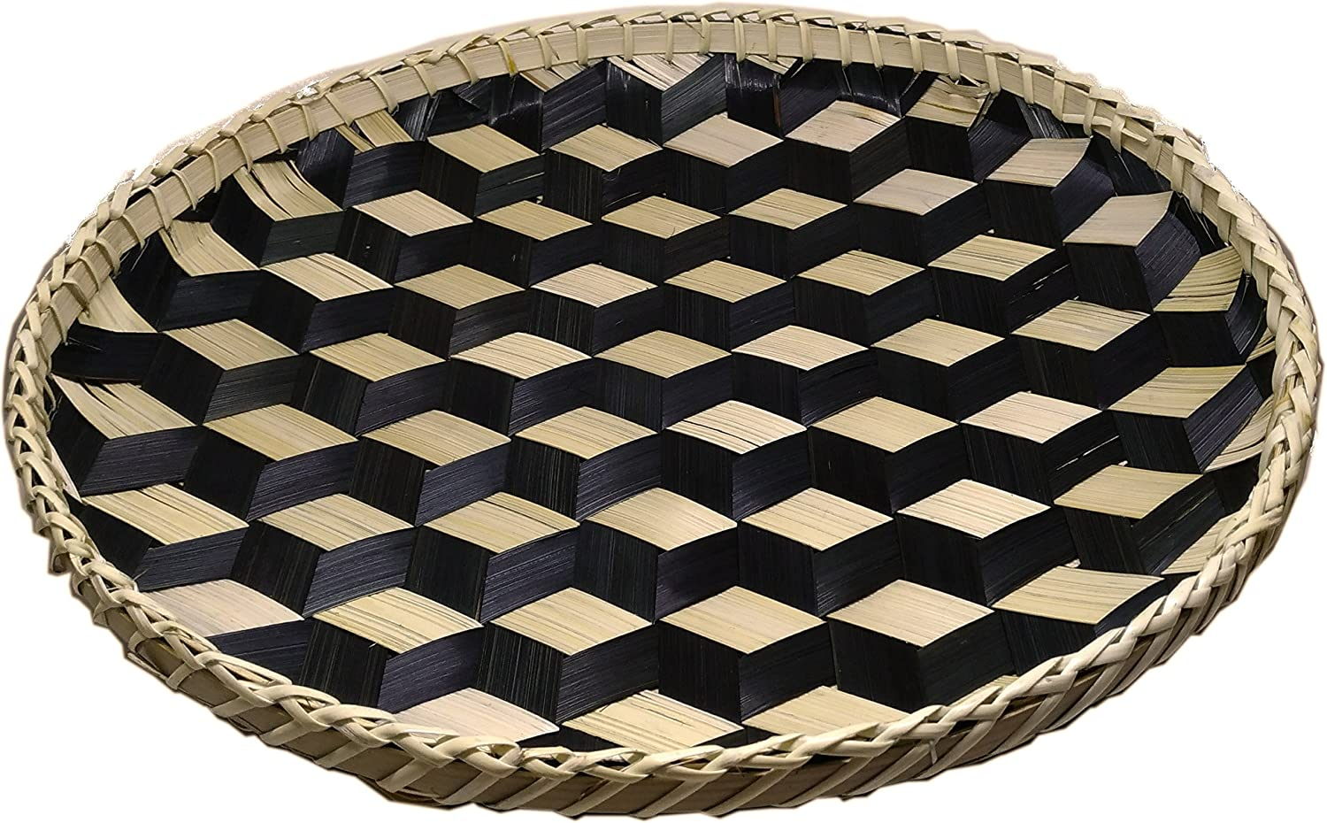 Ann Lee Design Handmade Round Basket Tray Extra Large - 14.02 x 14.02 x 0.98 inches (Black)