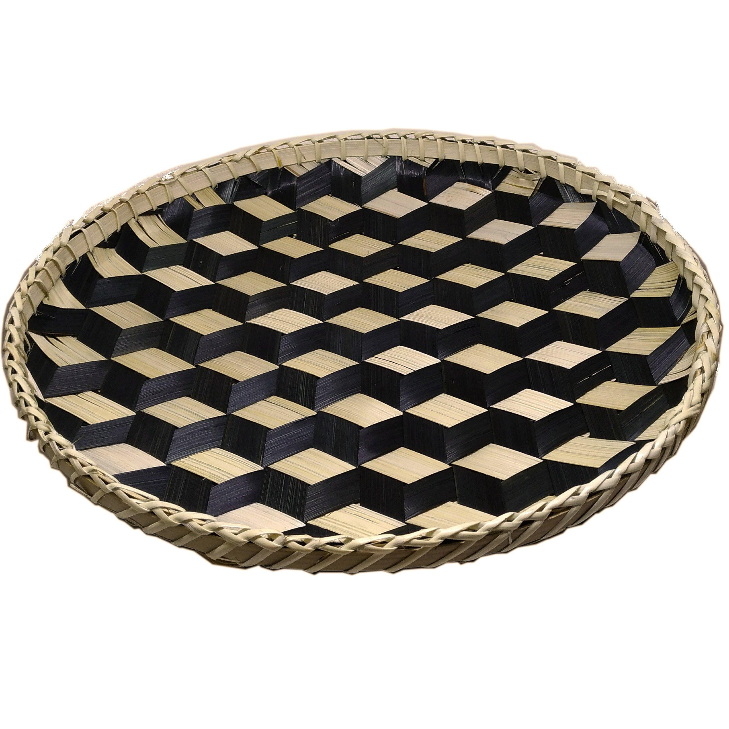 Ann Lee Designs X-Large Handmade Round Basket Tray - Black