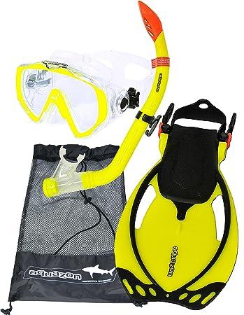 AQUAZON MIAMI Schnorchelset, Schwimmset, Tauchset, Taucherbrille mit anti fog tempered glas, Silkon, Semi Dry Schnorchel, ver