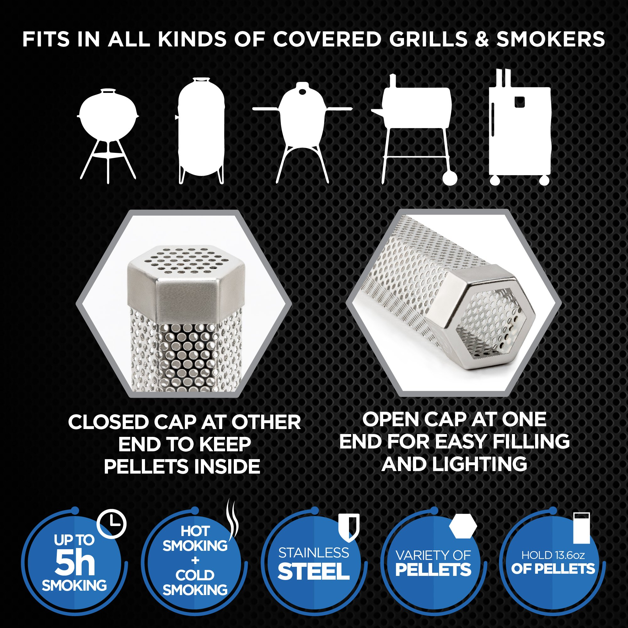 LIZZQ Premium Pellet Smoker Tube 12'' - 5 Hours Billowing Smoke any Grill Smoker, Hot Cold Smoking - Easy, safety tasty smoking - Free eBook Grilling Ideas Recipes by LIZZQ (Image #4)