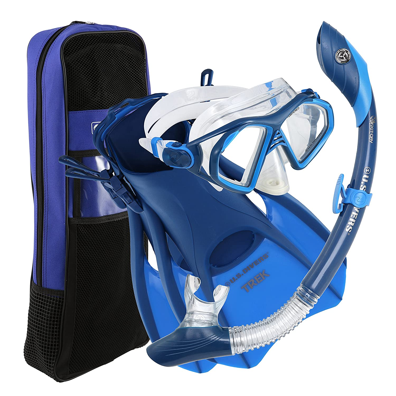 U.S. Divers Admiral Snorkeling Set - Premium Silicone Snorkel Mask, Trek Travel Fins, Dry Top Snorkel + Snorkeling Gear Bag, Blue, Large