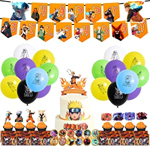 TANJIROU Naruto Party Supplies Birthday Decorations, 78 Pcs Party Favors - Banner, Cupcake Toppers, Balloon, Stickers, Chocolate Wrappers for Japanese Ninja Anime Themed Party