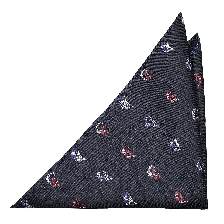 Notch Einstecktuch aus Seide für Herren - Basis in Marineblau mit roten, weissen und blauen Segelbooten HS446