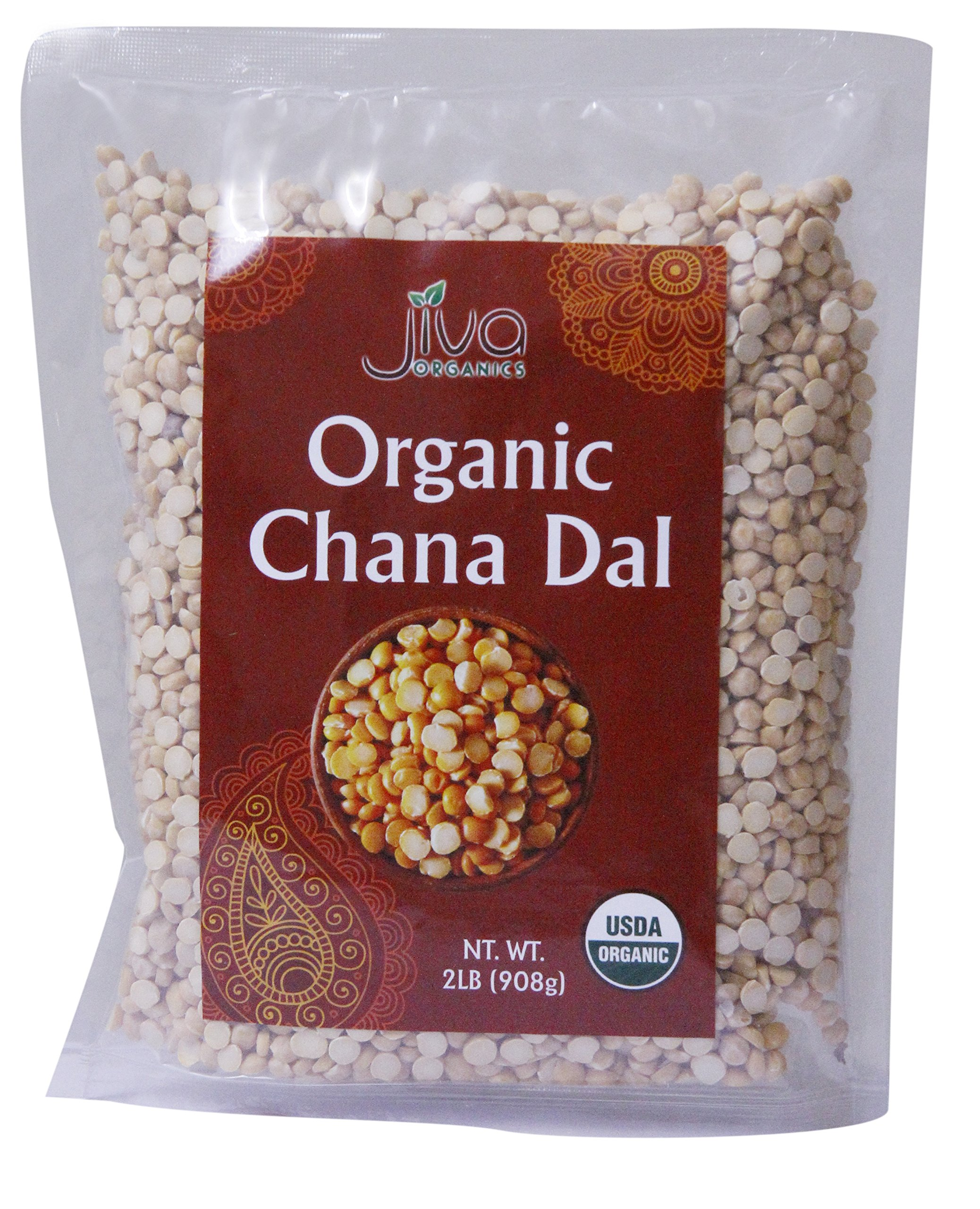 Jiva USDA Organic Chana Dal Beans - 2 Pound Bag