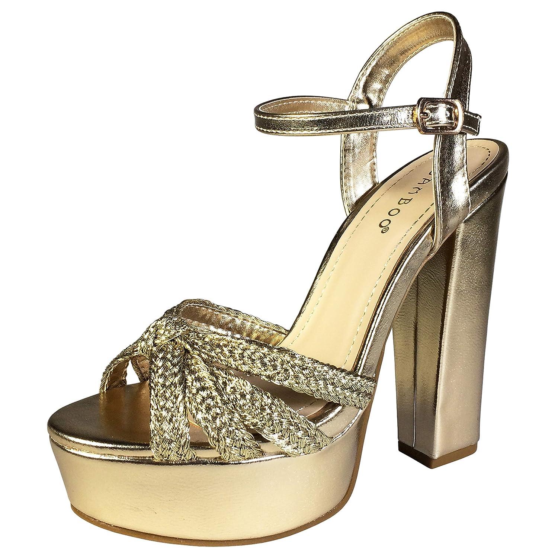 gold Pu Bamboo Women's Braided Strap Chunky Heel Platform Sandal with Quarter Strap