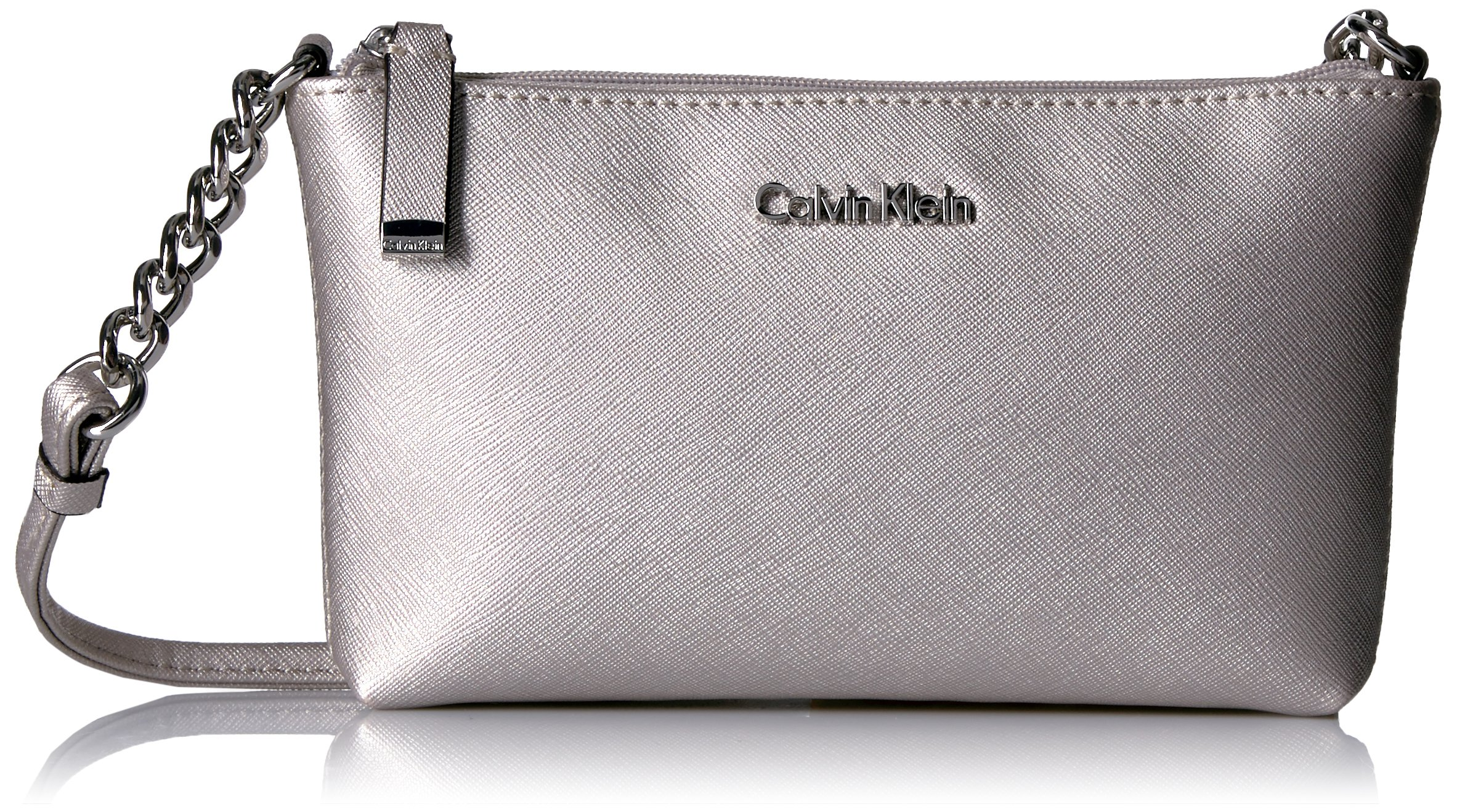 Calvin Klein Key Item Top Zip Saffiano Crossbody, Moonstone