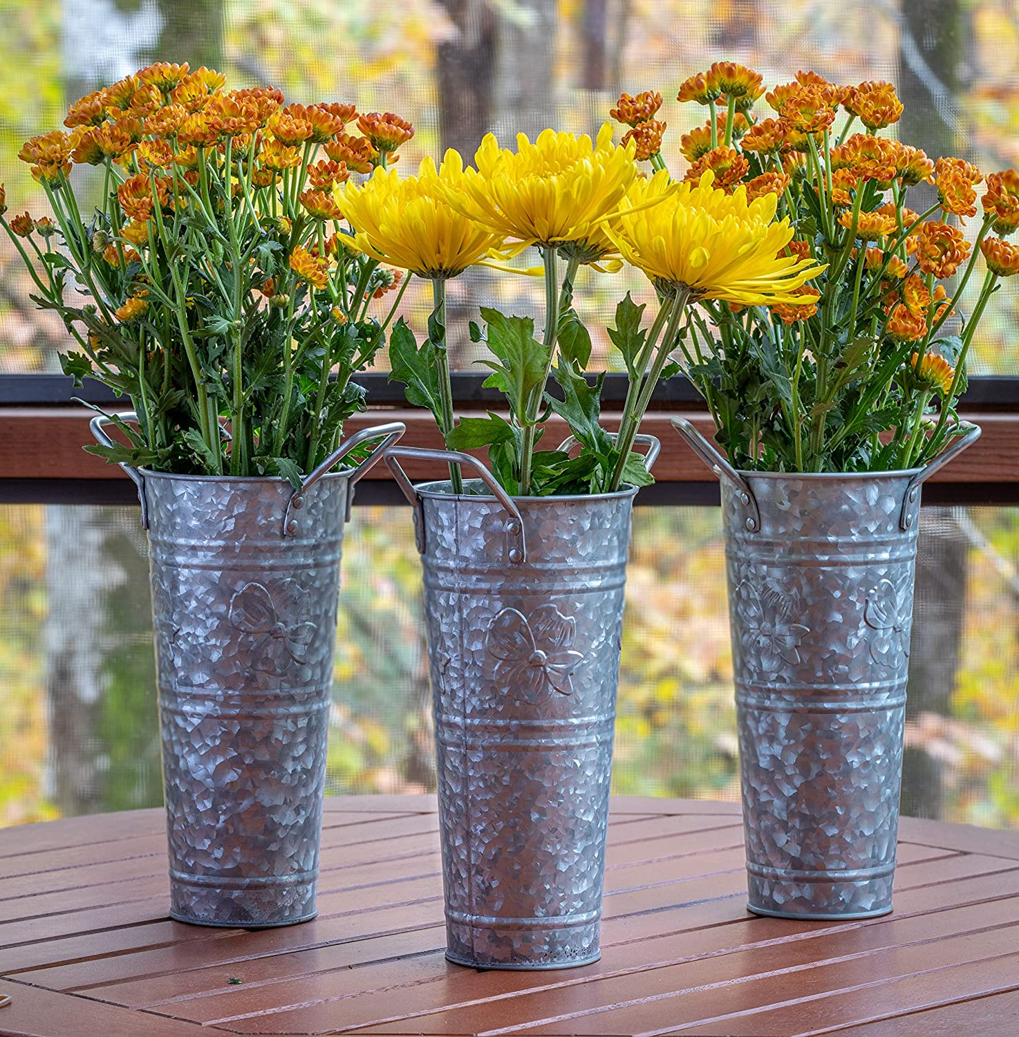 "French Flower Bucket Galvanized Vase – 9"" Set of 3 by Walford Home – Farmhouse Decorative Vases for Decor - Dogwood Blossom - Table Centerpiece Rustic Home Decor Metal Flower Vase Table Decor"