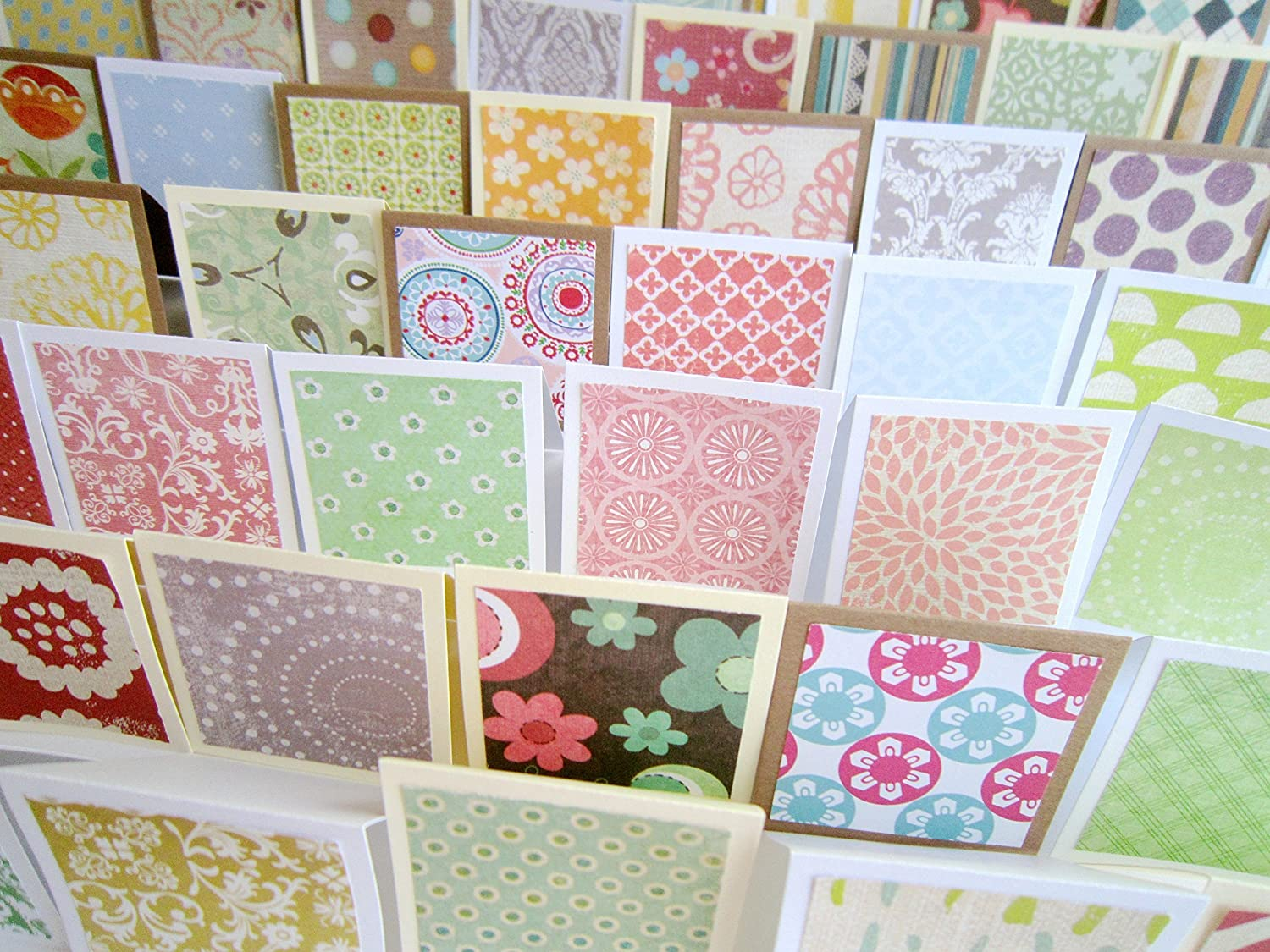 2 x 2 Mini Blank Fold Cards / Mini Thank You Enclosures / Square note catds / Assorted RANDOM Patterns / Straight Edges / Set of 20
