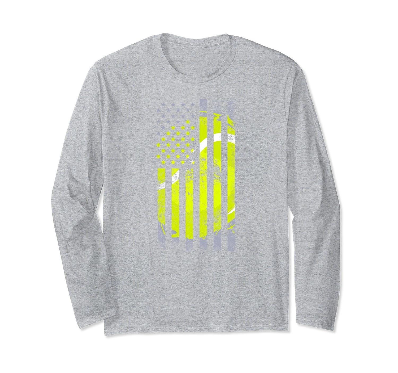 American Flag Tennis Ball USA Distressed Long Sleeve Shirt-alottee gift