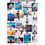 You-Have-Space Hanging Picture Display Photo Holder with 4 Metal Cable Strings and 20 Magnetic Clips Metal Black