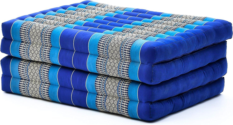 Leewadee futón Plegable Standard – Colchoneta para Doblar de kapok orgánico Hecha a Mano, colchón de Invitados para el Suelo, 200 x 80 cm, Azul