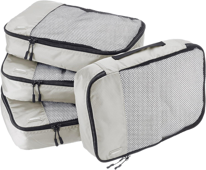 AmazonBasics - Bolsas de equipaje medianas (4 unidades), Gris