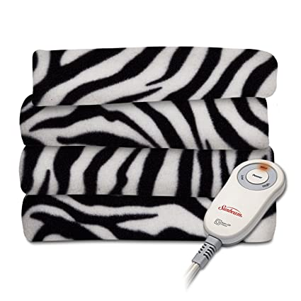 Amazon Sunbeam Fleece Heated Throw Blanket Zebra Black TSF40TP Amazing Zebra Print Electric Throw Blanket
