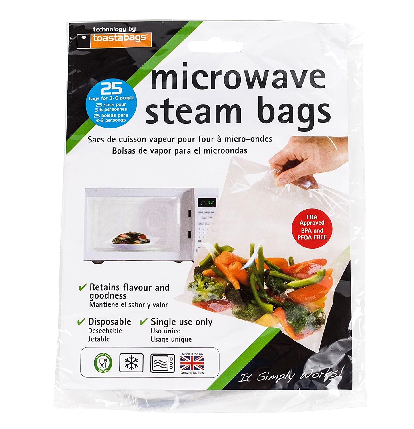 Set of 25 Quickasteam Microwave Steamer Bags, 3-Pack