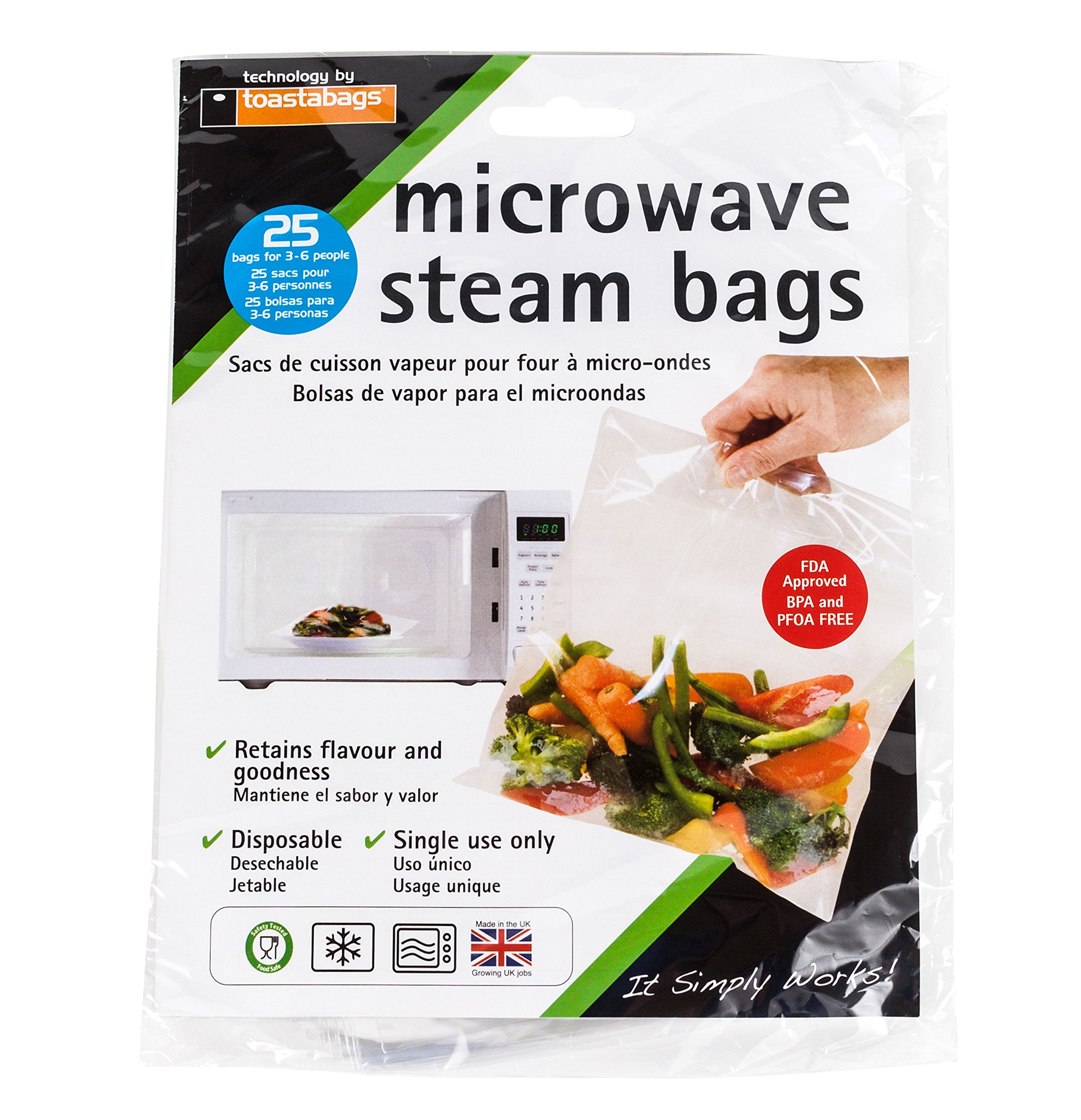 Set of 25 Quickasteam Microwave Steamer Bags, 3-Pack by Quickasteam