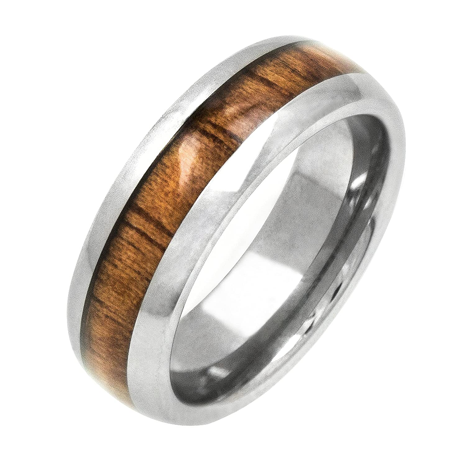 Amazon Tungsten Koa Wood 6mm Ring Wedding Bands Jewelry