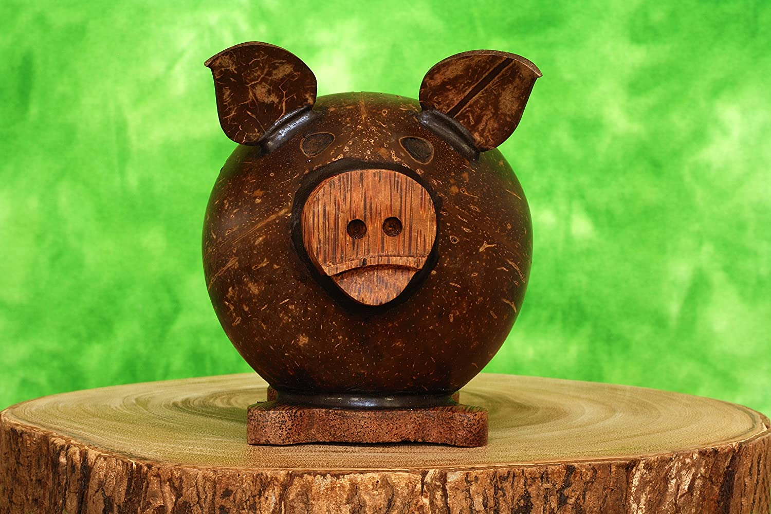 G6 Collection Unique Handmade Coconut Shell Wood Cute Pig Coin Piggy Bank Handcrafted Wooden Rustic Hand Carved Decorative Keepsake Saving Money Adorable Kids Room Decor Gift Pig Bank