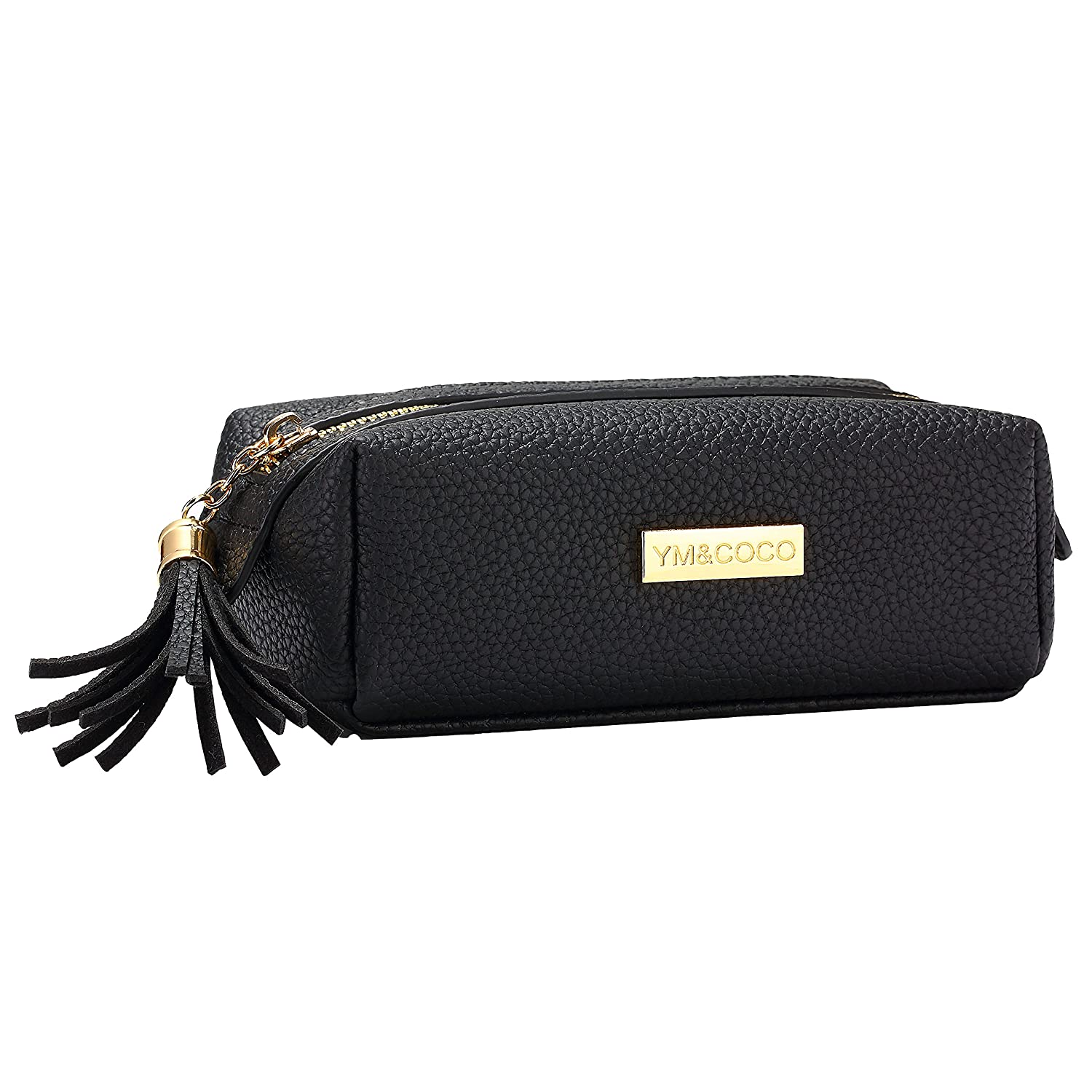 Makeup Bag Ym&Coco Cosmetic Bag For Purse Pencil Case Pouch Leather Handy Organizer With Tassel Heavy Duty Zips For Lipstick, Brushes, Mascara Basic Cosmetics Black   4 Colors For Choice by Ym&Coco