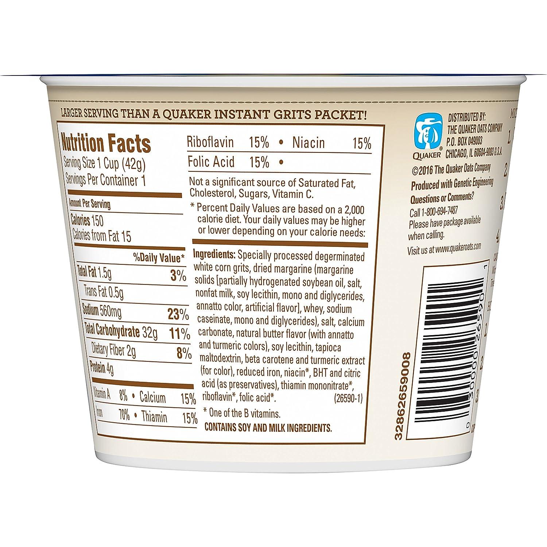 Quaker Instant Grits Butter 148 Ounce Cup Oatmeal Jar 1 Carton 12 Pcs P