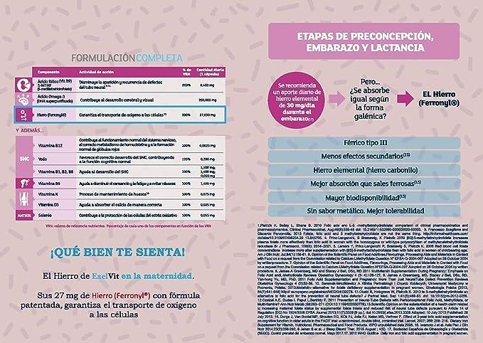 Exelvit Complemento alimenticio para preconcepción, embarazo y ...
