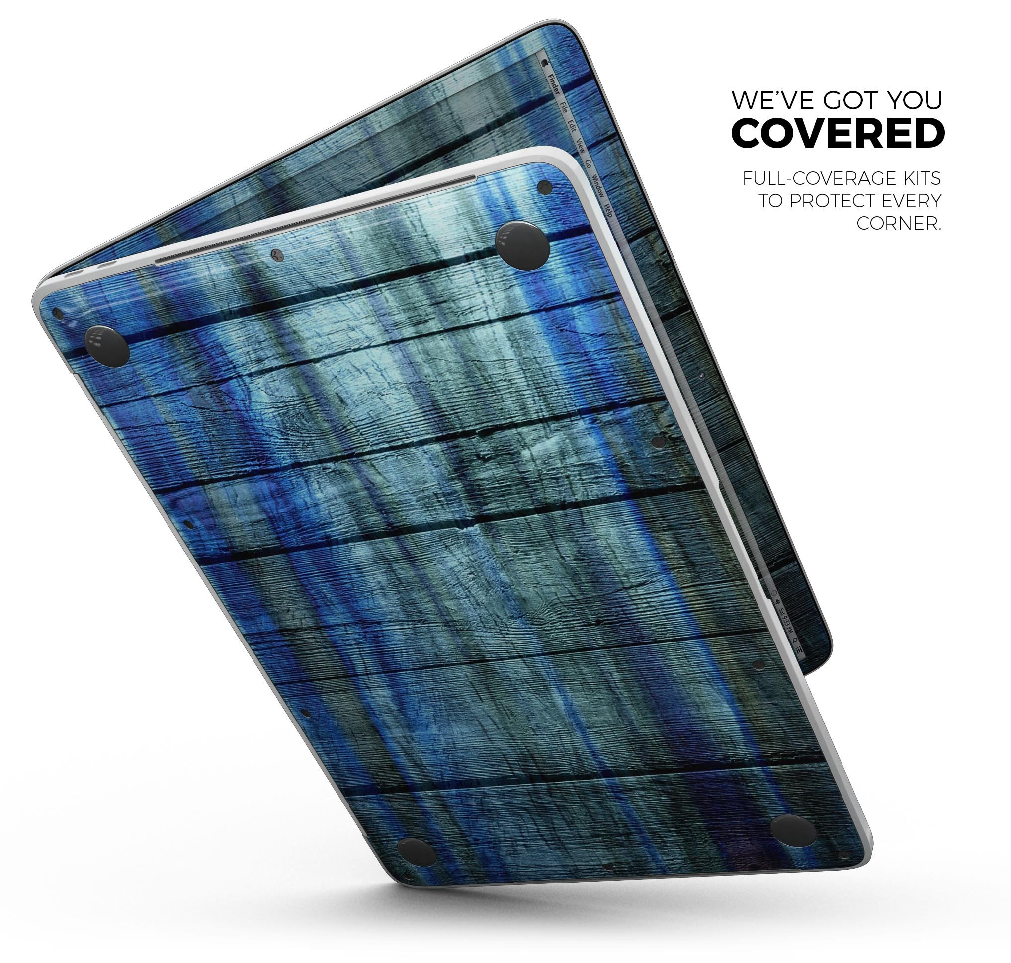 Wood Pattern Design Skinz Premium Full-Body Cover Wrap Decal Skin-Kit for The Apple MacBook 12'' MacBook (A1534) - Blue and Green Tye-Dyed Wood by iiRov (Image #4)