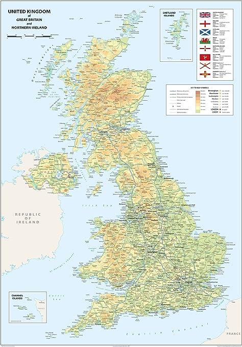 Mapa del Reino Unido de Gran Bretaña e Irlanda del Norte, tamaño A1 de 59,4 x 84,1 cm: Amazon.es: Oficina y papelería