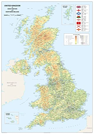 Map Of Northern Uk.United Kingdom Of Great Britain And Northern Ireland Map A1 Size 59 4 X 84 1 Cm