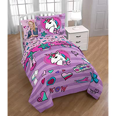 Nickelodeon JoJo Siwa 5pc Twin Bedding Collection with Comforter, Sheet Set (Fitted and Flat Sheets), Sham and Pillowcase, Purple and Pink: Home & Kitchen