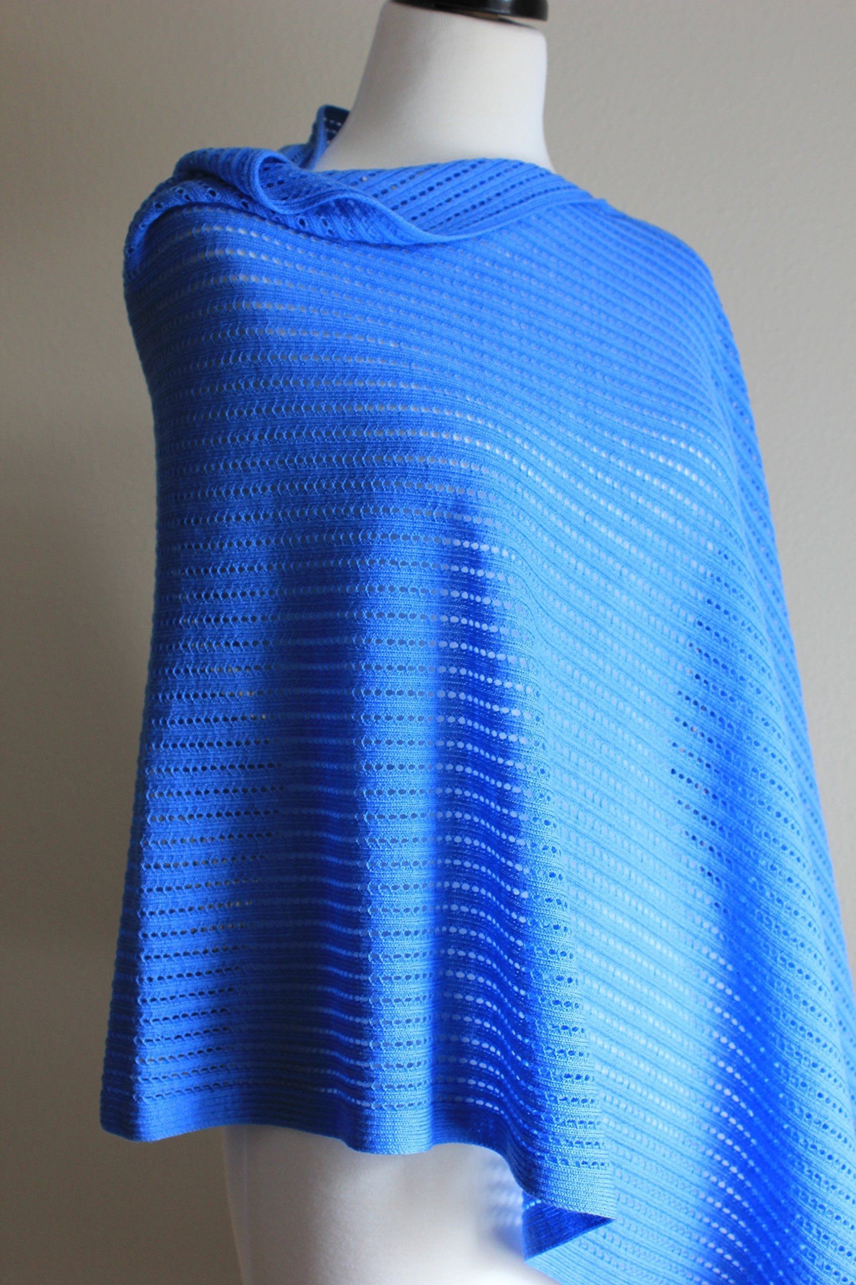 Airy Poncho, Women's Tall, Mesh Poncho, Summer Wrap, Blue