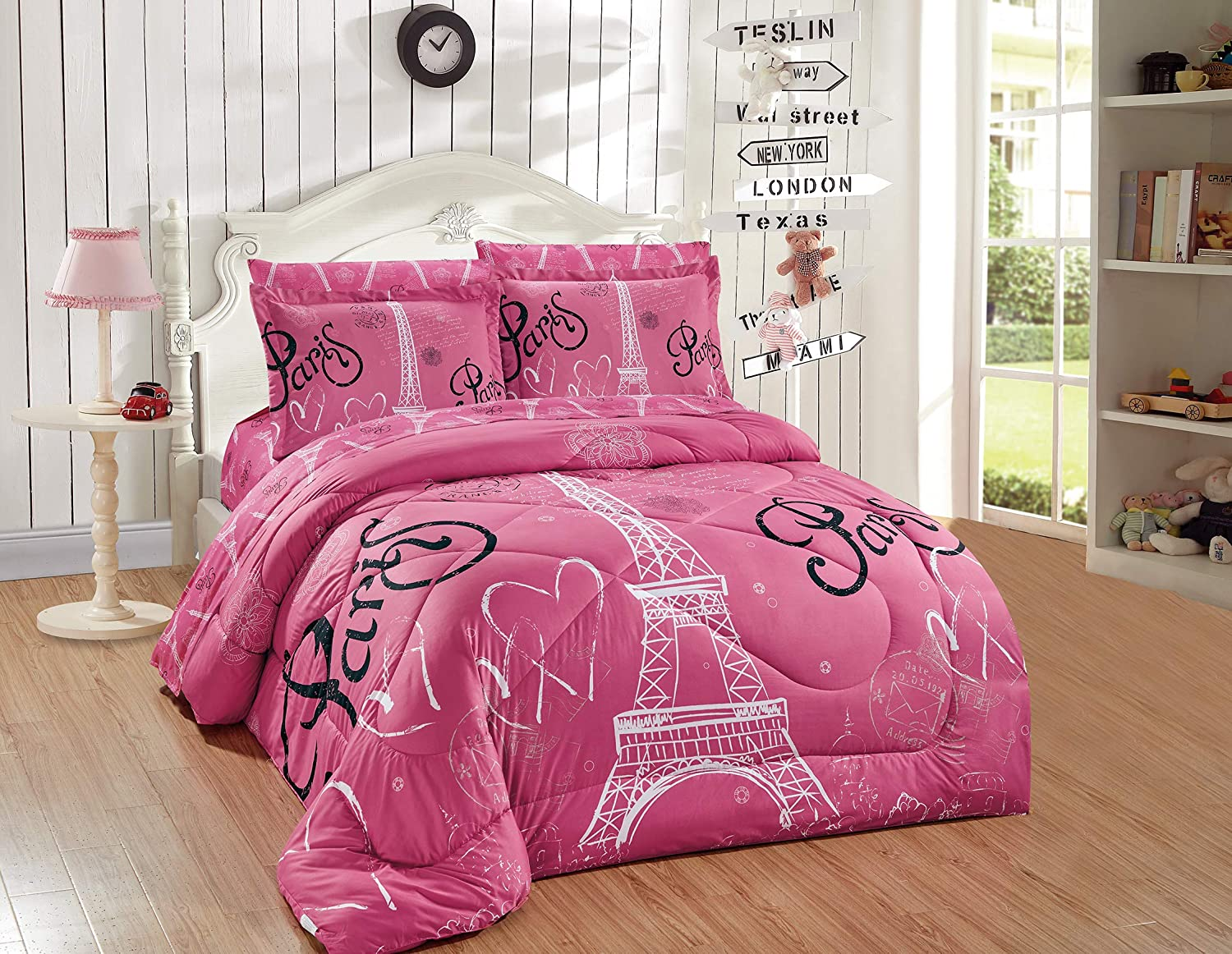 Better Home Style Pink White Black Paris Eiffel Tower Bonjour Design 5 Piece Comforter Bedding Set Bed in a Bag with Complete Sheet Set # FS Paris Pink (Twin)