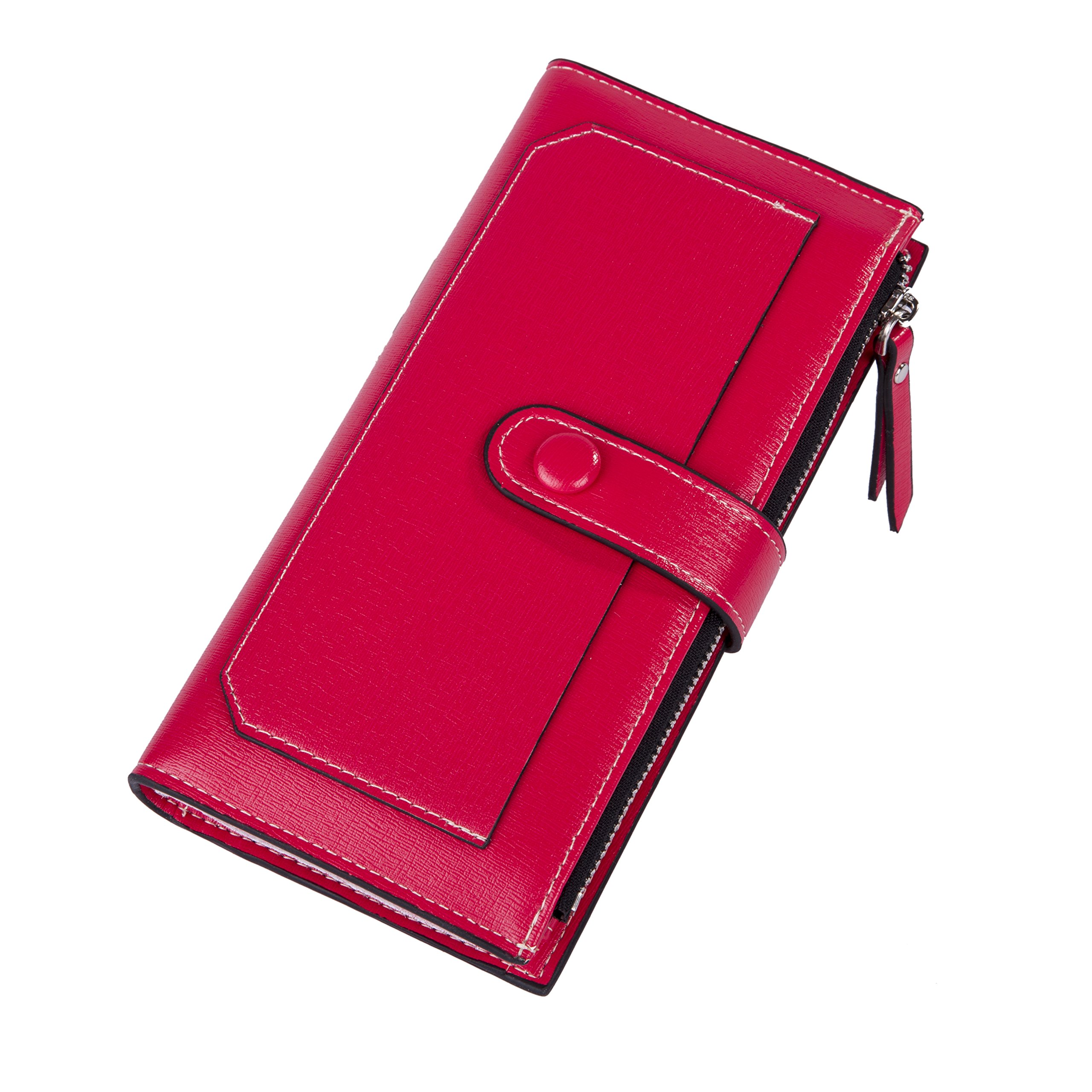 Baellerry Women Soft Leather Long Wallet Large Capacity Cluth Ladies Purse Card Holder (red)