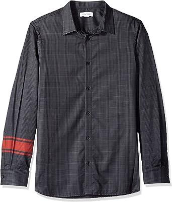 Calvin Klein Hombre Manga Larga Camisa de botones - negro - Large: Amazon.es: Ropa y accesorios