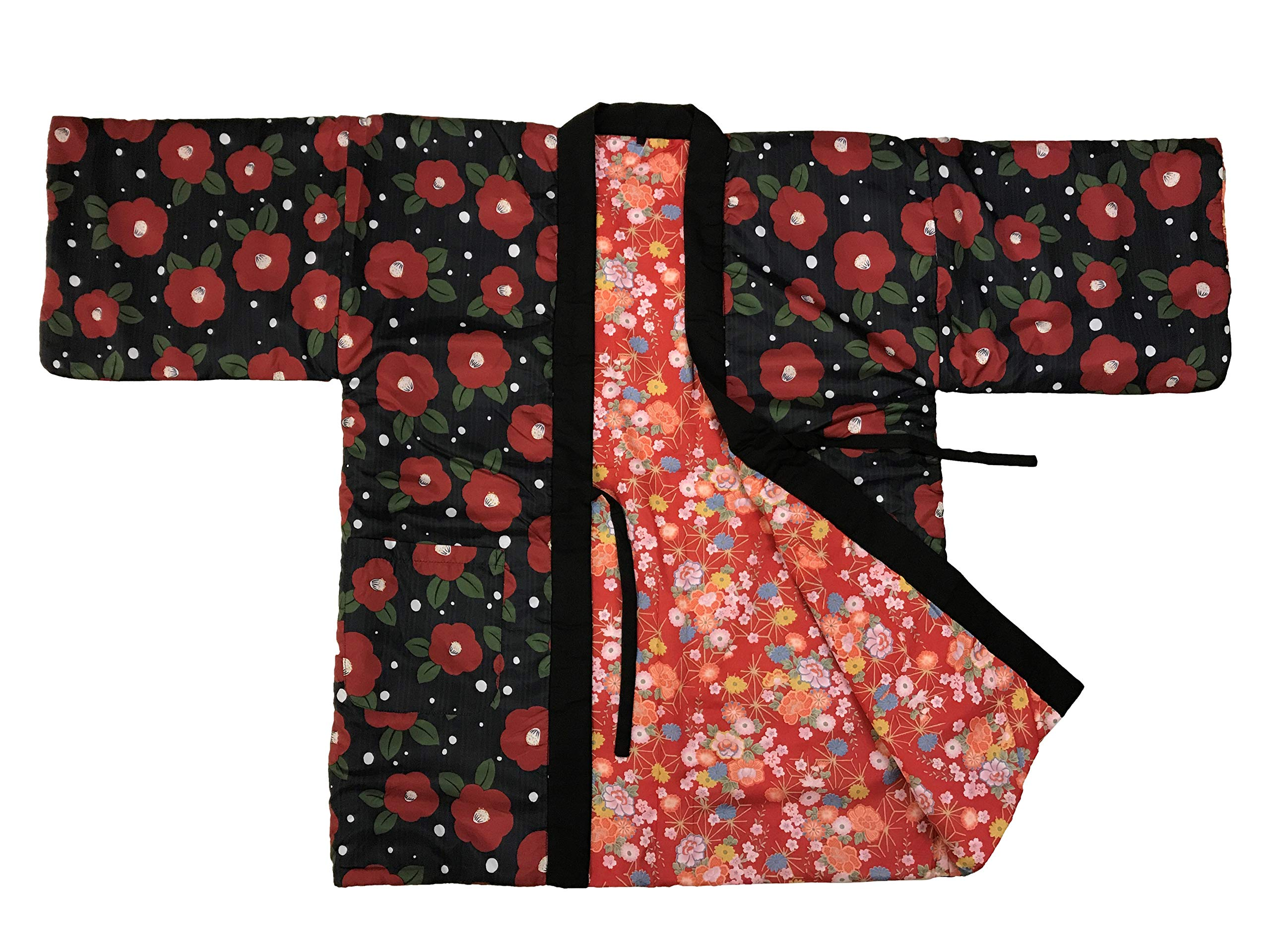 Edoten Japan Womens Hanten Pattern Reversible Hand wash Possible Polyester Tsubaki L