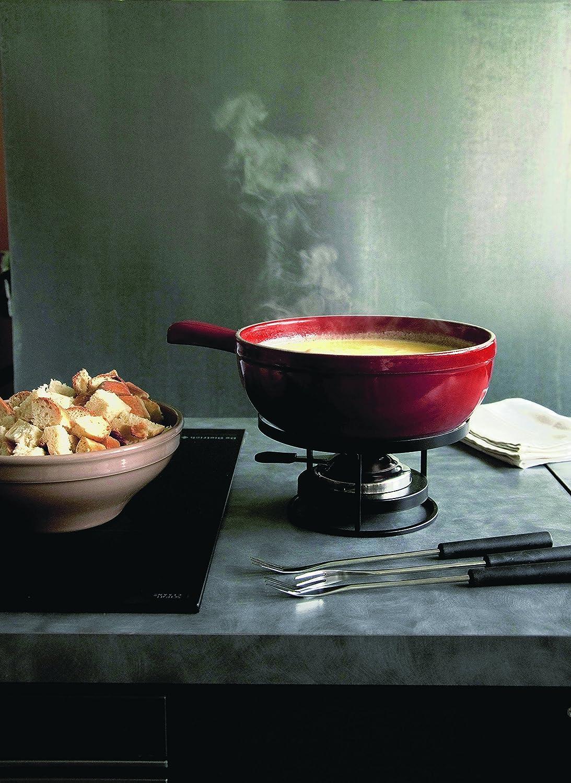 Emile Henry Cheese Set Juego de fondue de queso gris oscuro cer/ámica