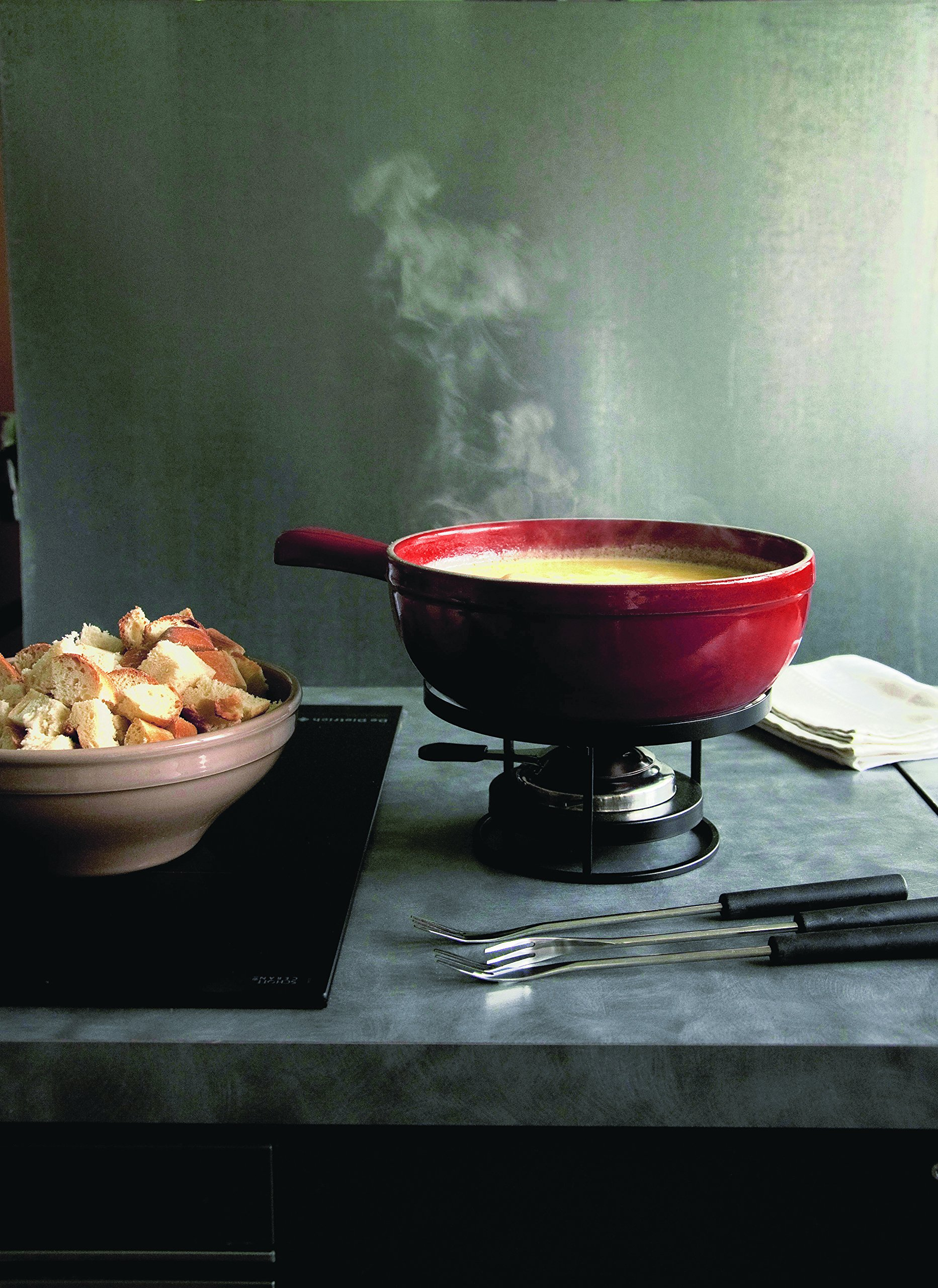 Emile Henry Made In France Flame Cheese Fondue Set, 2.6 quart, Charcoal by Emile Henry (Image #3)