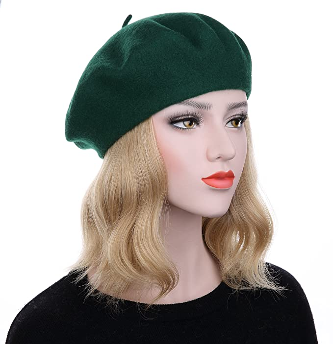 7f493e5bba9 VGLOOK French Style Classic Solid Color Wool Berets Beanies Cap Hats (Black )(Size  One Size)  Amazon.co.uk  Clothing