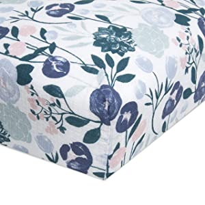 aden + anais Essentials Classic Crib Sheet, 100% Cotton Muslin, Super Soft & Breathable, Tailored Snug Fit, Flowers Bloom