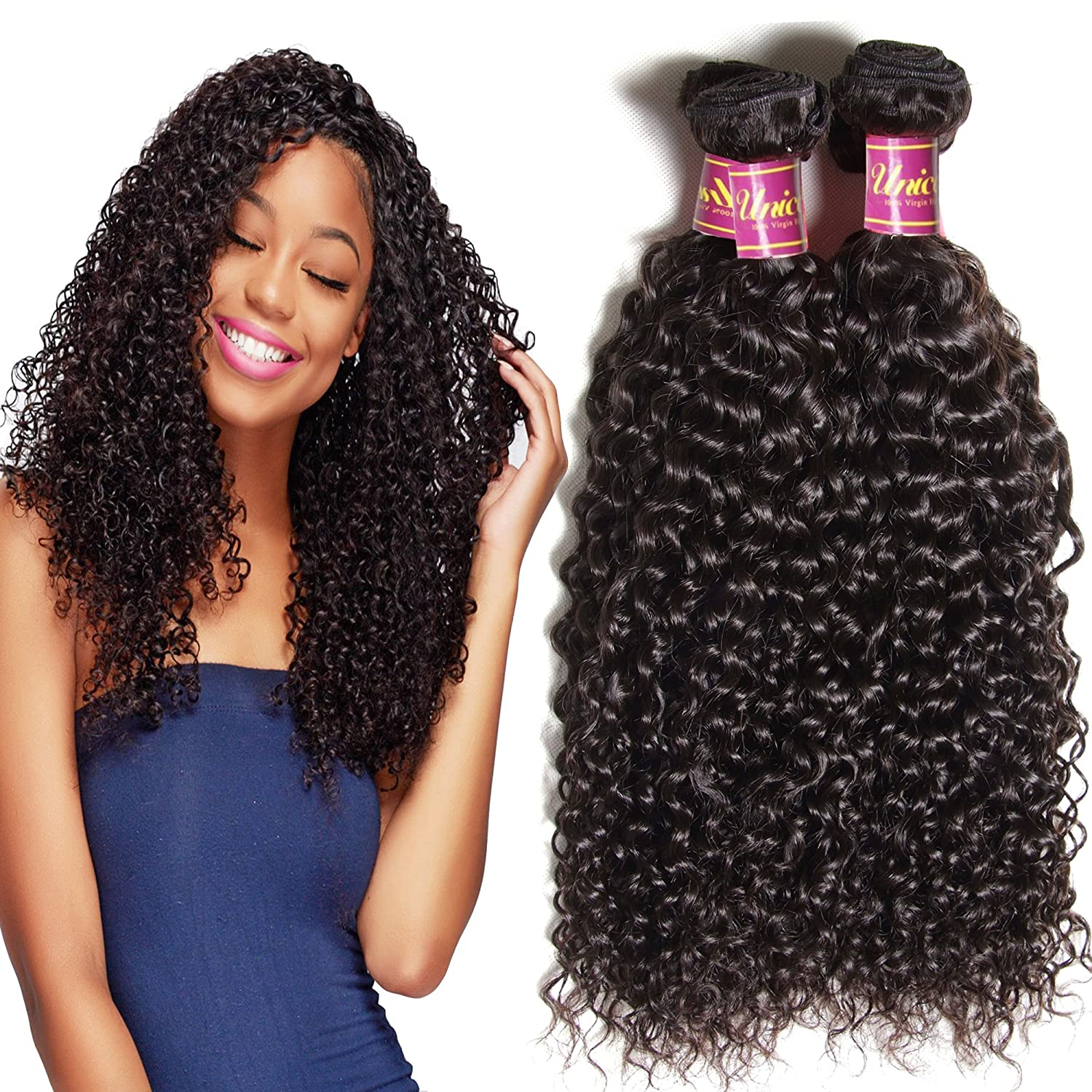 Amazon 3 Bundles 18 20 22inch Brazilian Jerry Curly Hair Weave